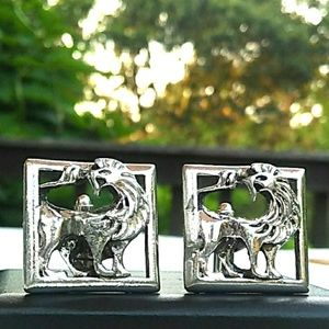 VINTAGE Unique SilverTone Lion Cufflinks